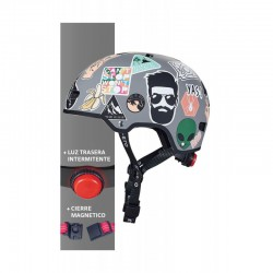 Casco Stickers Talla S Luz Led